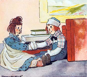 Raggedy Ann &#038; Raggedy Andy meet for the first time, in the Project Gutenberg EBook of Raggedy Andy Stories by Johnny Gruelle, circa 1920